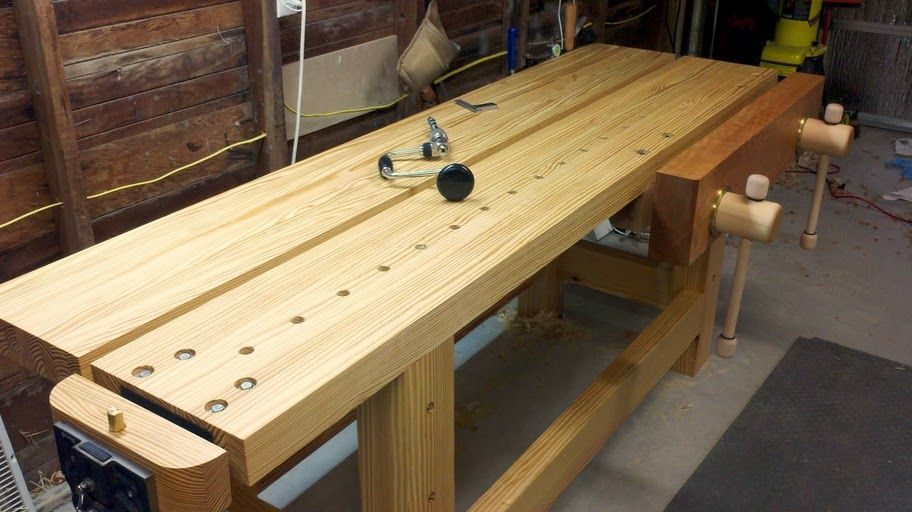 Holtzapffel Bench Part - 15: Lake Erie Toolworks, Split Top Holtzapffel Workbench, Twin Screw Vise, Wood  Vise