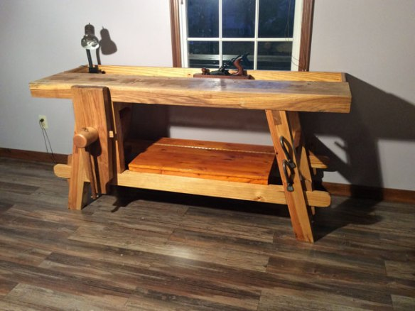Lake Erie Toolworks Workbench Idea, Moravian Style Workbench, Wooden Vise, Leg Vise