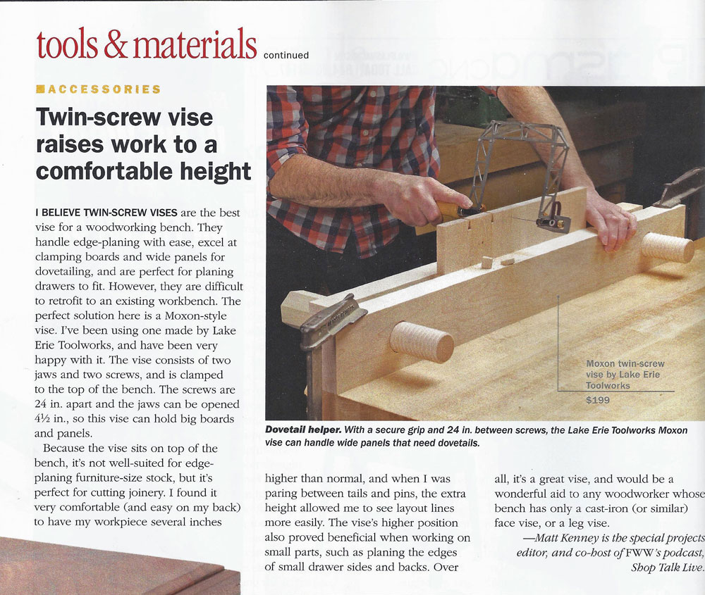 Lake Erie Toolworks, Fine Woodworking, Moxon Vise, Tool Review