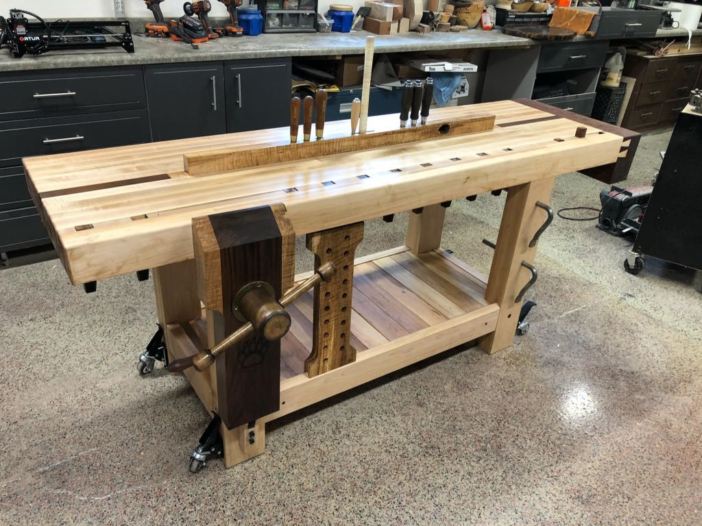 Lake Erie Toolworks, Split Top Roubo Workbench, Leg Vise, Wood Vise, Wood Leg Vise